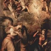 Tizian  Verkuendigung Renaissance   Diese Bilder-Vorlage Verkuendigung Von Tizian als hochwertiges, handgemaltes Gemälde. Wir malen Ihr Ölgemälde nach Ihrer Vorlage. Originalformat: 410 x 240 cm Entstanden: um 1564