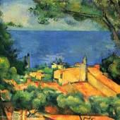 """Cezanne Paul - Cezanne Meister des 19.Jahrhunderts LEstaque mit roten Daechern (1873). Das Gemälde """"LEstaque mit roten Daechern"""" von Paul Cezanne als hochwertige, handgemalte Ölgemälde-Replikation. Quelle: www.oel-bild.de"""