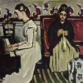 """Cezanne, Paul  Maedchen am Klavier Impressionismus   Das Gemälde """"Maedchen am Klavier"""" von Paul Cezanne als hochwertige, handgemalte Ölgemälde-Replikation. Originalformat: 57 x 92 cm. Quelle: www.oel-bild.de."""