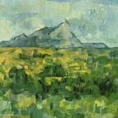 "Cezanne, Paul  Mont Sainte Victoire Impressionismus   Das Gemälde ""Mont Sainte Victoire"" von Paul Cezanne als hochwertige, handgemalte Ölgemälde-Replikation. Originalformat: 65 x 81 cm. Quelle: www.oel-bild.de."