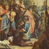 Rembrandt Werke, Detailansicht: David mit dem Haupt Goliaths vor Saul, 1625 Quelle: www.oel-bild.de