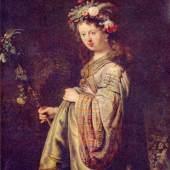 Biographie Rembrandts Bild, Flora (Porträt der Saskia als Flora), 1634. Quelle: www.oel-bild.de