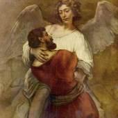 Rembrandt Werke, Jakob ringt mit dem Engel, um 1660. Die dramatische Zuspitzung des Kampfes ist nur angedeutet, der Ausgan jedoch offensichtlich: Jakob unterliegt und empfängt den Segen. Quelle: www.oel-bild.de