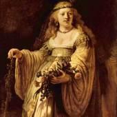 """Rembrandts Werke, Bildnis einer Frau """"Saskia als Flora"""" mit einer Nelke in der Hand 1665. Quelle: www.oel-bild.de"""