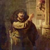 Rembrandt Werke, Simson droht seinem Schwiegervater, 1635. Quelle: www.oel-bild.de