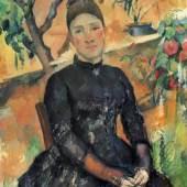"""Cezanne Paul - Cézanne Cezanne Frau im Gewächshaus Das Gemälde """"Portraet der Mme Cezanne im Gewaechshaus"""" von Paul Cezanne als hochwertige, handgemalte Ölgemälde-Replikation Quelle: www.oel-bild.de"""