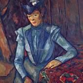 """Cezanne, Paul  Portraet einer Dame in Blau Impressionismus   Das Gemälde """"Portraet einer Dame in Blau"""" von Paul Cezanne als hochwertige, handgemalte Ölgemälde-Replikation. Originalformat: 88,5 x 72 cm. Quelle: www.oel-bild.de."""