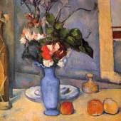 """Cezanne, Paul  Stillleben mit blauer Vase Impressionismus   Das Gemälde """"Stillleben mit blauer Vase"""" von Paul Cezanne als hochwertige, handgemalte Ölgemälde-Replikation. Originalformat: 61 x 51 cm. Quelle: www.oel-bild.de."""