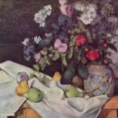 Cezanne Paul - Cézanne Impressionisten 1839 - 1906. Stilleben mit Blumen und Früchten (Bütten) Staatliche Sammlungen Berlin Motivformat: 50,0 x 63,0 cm (HxB). Bildmaterial: www.oel-bild.de