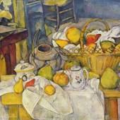 """Cezanne, Paul  Stillleben mit Fruechtekorb Impressionismus   Das Gemälde """"Stillleben mit Früchtekorb"""" von Paul Cezanne als hochwertige, handgemalte Ölgemälde-Replikation. Originalformat: 64 x 80 cm. Quelle: www.oel-bild.de."""