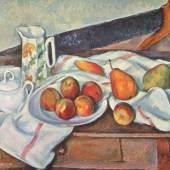 """Cezanne, Paul  Stillleben mit Zuckerdose Impressionismus   Das Gemälde """"Stillleben mit Zuckerdose"""" von Paul Cezanne als hochwertige, handgemalte Ölgemälde-Replikation. Originalformat: 61 x 90 cm. Quelle: www.oel-bild.de."""