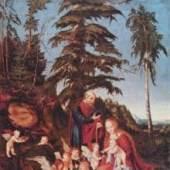 Cranach, Lucas  Ruhe auf der Flucht Renaissance   Diese Bilder-Vorlage Ruhe auf der Flucht Von Cranach. Bildmaterial: www.oel-bild.de