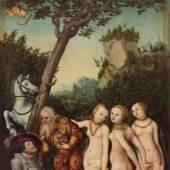 Cranach, Lucas  Urteil des Paris Renaissance   Diese Bilder-Vorlage Urteil des Paris Von Cranach. Bildmaterial: www.oel-bild.de