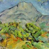 """Cezanne, Paul  Strasse an der Montagne Sainte Victoire Impressionismus   Das Gemälde """"Straße an der Montagne Sainte Victoire"""" von Paul Cezanne als hochwertige, handgemalte Ölgemälde-Replikation. Originalformat: 81 x 99 cm. Quelle: www.oel-bild.de."""