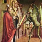 Michael Pacher, Der Heilige Augustinus und der Teufel, Flügelaltarszene ca. 1430. Bildnachweis: de.academic.ru