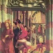 Michael Pacher, Versuchte Steinigung Jesu, Sankt Wolfgang im Salzkammergut. Bildnachweis: de.academic.ru