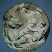 Michelangelo Buonarroti 1475 - 1564   Madonna mit Kind und Hl.Johannes Marmor Relief, The Royal Academy, London. Bildmaterial: reisserbilder.at