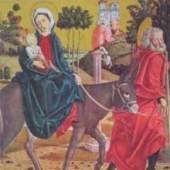 Pacher Michael Activ 1445 - 1498   Flucht nach Ägypten vom rechten Predellaflügel des Altars von St.Wolfgang. Bildnachweis: reisserbilder.a