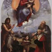 """Raffael Sanzio 1483 - 1520, """"Die Madonna von Foligno"""", 1512, Öl auf Holz, auf Leinwand übertragen, Musei Vaticani, Rom. Bildmaterial: www.italianvisits.com"""