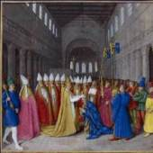The Crowning of Charlemagne (from the 'Grandes Chroniques de France' with illustrations by Jean Fouquet c.1461). Bildmaterial: www.ameliaseyssel.com
