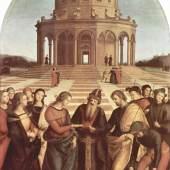 "Raffael Sanzio 1483 - 1520, ""Die Vermählung der Maria"", 1504, Öltempera auf Holz, Pinacoteca di Brera, Mailand. Bildmaterial: www.weltum.de"