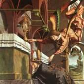 Michael Pacher: Wolfgang bittet um ein Wunder, Detail, 1482 - 83, Alte Pinakothek in München. Bildnachweis: www.heiligenlexikon.de