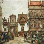 """Rudolf von Alt (1812 - 1905) """"Basilica di Santa Maria Gloriosa dei Frari in Venedig"""" Aquarell auf Papier, signiert und datiert 1882, 33,6 x 48,1 cm"""