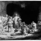 """Rembrandts, Christus heilt die Kranken. - Genannt: Das Hundert- guldenblatt Radierung, 1649 . Bartsch, White-Boon 74 II. Seidlitz 74 II (von VI). Auf festem Bütten (mit Wz. """"Bekrönte Straßburger Lilie"""" mit Nebenmarke; vgl. Heawood 1780f). 28,1 : 39,6 cm (11 : 15,5 in). Papier: 29,2 x 40,3 cm (11,4 x 15,8 in). Rembrandts, Harmensz. van Rijn 51 Auktion: Auktion 286 / Alte und Moderne Kunst/ Maritime Kunst am 26.03.2004 Erlös: 69.000 EUR/ 83.490 USD Verkauft. Quelle: www.kettererkunst.de"""