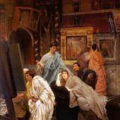 """Alma Tadema, Sir Lawrence  Eine Sammlung von Bildern in der Zeit Augustus Realismus  Das Gemälde """"Eine Sammlung von Bildern in der Zeit Augustus"""" von Sir Lawrence Alma Tadema als hochwertige, handgemalte Ölgemälde-Replikation. www.oel-bild.de"""