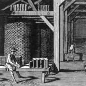 Herstellung von Fliesen in Frankreich (18. Jahrhundert). Bildmaterial: www.geschichte-der-fliese.de