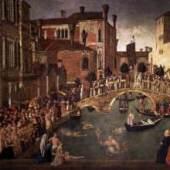 BELLINI, Gentile (b. ca. 1429, Venezia, d. 1507, Venezia). Miracle of the Cross at the Bridge of San Lorenzo 1500 Tempera on canvas, 323 x 430 cm Gallerie dell'Accademia, Venice. Bildmaterial: www.wga.hu