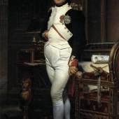 Jacques Louis David Napolon Bonaparte in seinem Arbeitszimmer, hochwertige, handgemalte Ölgemäde-Replikation.  Quelle: www.oel-bild.de