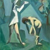 """Claus Pack 1921 - 1997 """"Badende"""" Öl auf Platte, verso Nachlass-Stempel, um 1961, 73 x 60 cm"""