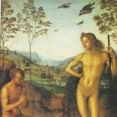 """Pietro Perugino, Apollo und Marsyas"""", Tempera auf Holz, 1490 Paris, Musée du Louvre. Bildmaterial: www.oceansbridge.com"""