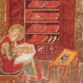 Darstellung des Propheten Ersa im Mittelalter sogenannten Kodex Amiatinus, entstanden um 700 n. Chr. in Nortthumberland (zwischen England und Schottland) nach einem italienischen Vorbild um 550 n. Chr. (Florenz, Biblioteca Laurenziana). Seite 12
