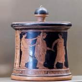 <p>Die Hochzeit der Thetis und des Peleus, Pyxis des Hochzeitsmalers, um 470/60 v. Chr. Bildmaertial: Rotfigurige Vasenmalerei, de.academic.ru,</p>