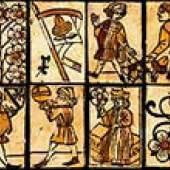 <p>Schweizer Spielkarten um 1500. Der grösste Teil der in der Fragmenten-sammlung aufbewahrten Spielkarten stammt aus Bucheinbänden: Ausschussmaterial wurde zu Karton verklebt und dieser zu Buchdeckeln verarbeitet. Die in beschädigten Einbänden zum Vorschein kommenden Karten wurden bereits von den Archivaren des 19. Jahrhunderts gesammelt. Diese Karten des Basler Typs gehören zu den ältesten bekannten Spielkarten der Schweiz. Foto F. Borer Quelle: www.staluzern.ch</p>