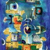 "Lucas Suppin 1911 - 1998 ""Surreale Collage auf Blau"" Öl auf Karton, signiert, um 1966, 88 x 62,5 cm"