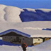 WALDE, Alfons 1891- 1951 Einsame Alm (Berghof, 1928) € 475.800 Öl auf Karton, 41 x 59 cm  Signiert rechts unten: A. Walde Original-Walde-Rahmen