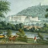 """Balthasar Wigand 1771 - 1846 """"Spazierfahrt im Helenental mit Blick auf die Weilburg"""" Gouache auf Papier, signiert und bezeichnet: Der Weg von Baden nach St. Helena, 8 x 12 cm"""