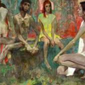 """Hans Wulz Landeck 1909 - 1985 Wien """"Jugend"""" Öl auf Leinwand, signiert, 72 x 120 cm"""