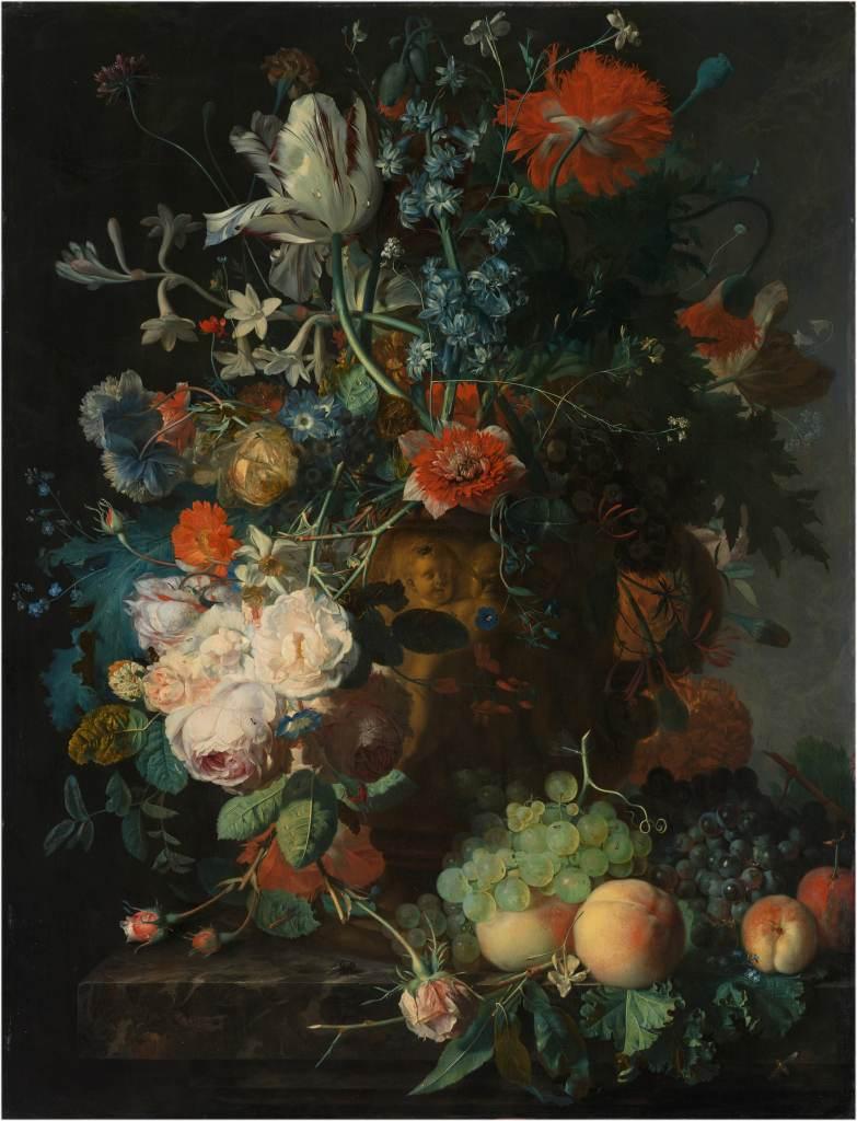 rachel ruysch stilleven met bloemen marmeren tafelblad 1716 - Oude Meesters Behang